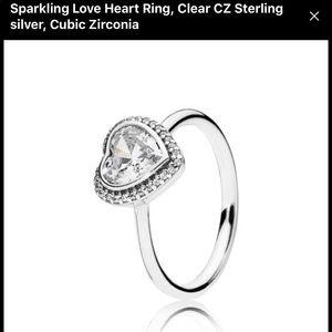 Pandora sparkling heart shaped ring